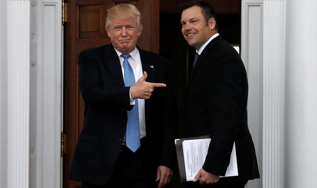 Mike Segar/Reuters - President-elect Trump meets with Kansas Secretary of State and NSEERS architect Kris Kobach on November 21, 2016. At the top of Kobach's agenda is a proposal to reinstate NSEERS.