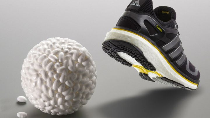 Adidas' Boost running shoes feature a foam base that's made out of elastic foam particles called thermoplastic polyurethane or TPU.