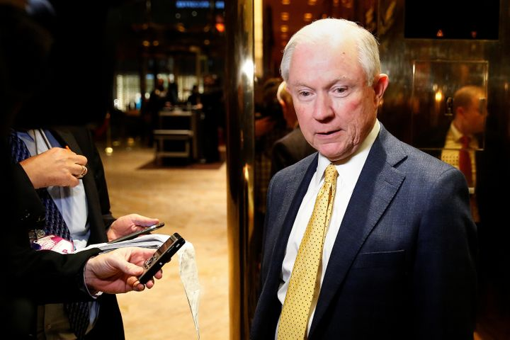 Senator Jeff Sessions (R-AL) arrives in the lobby of Republican president-elect Donald Trump's Trump Tower in New York, New Y