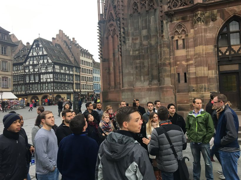 Case Western Reserve University Students outside the Strasbourg Cathedral