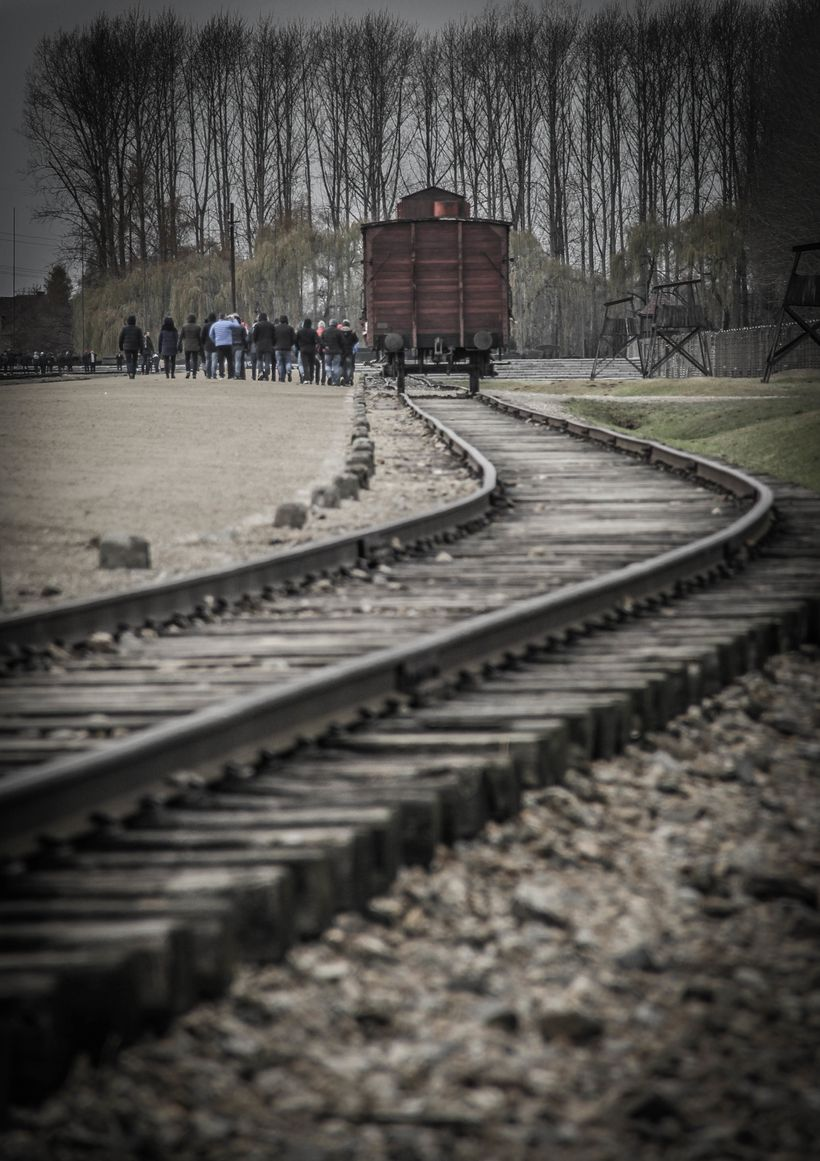 An original rail car that was used to ship Jews across Europe to the Auschwitz camps.  This small car would often have up to