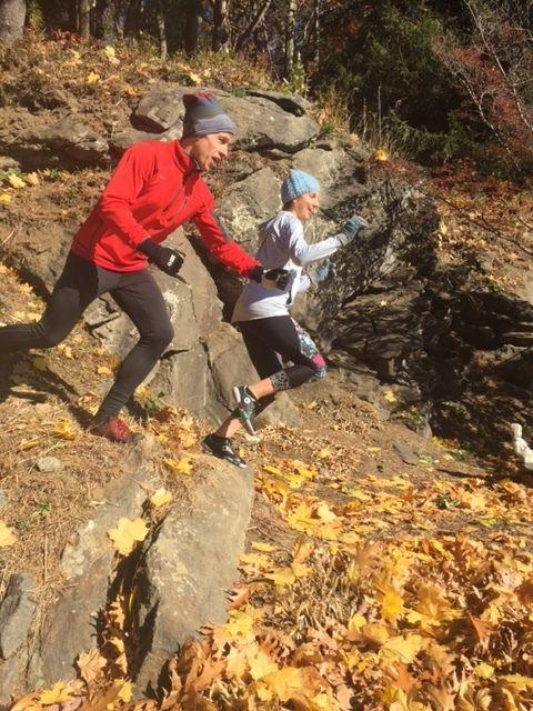 Steve Alsdorf and Sarajean Rudman trail running in the Berkshires