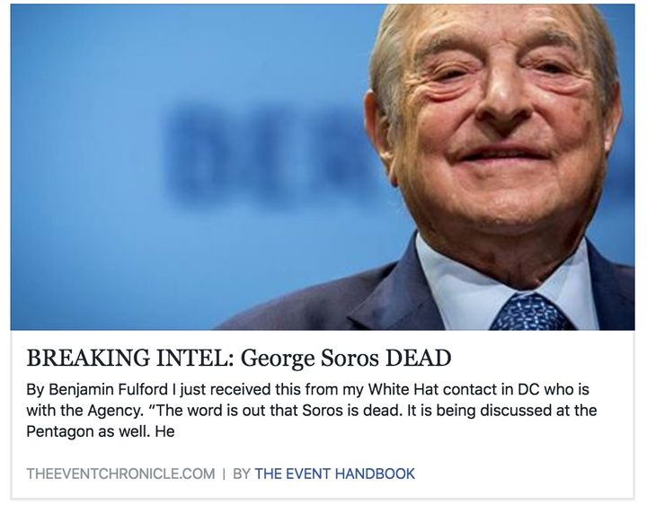 A Facebook post from The Event Chronicle falsely claiming that George Soros died.