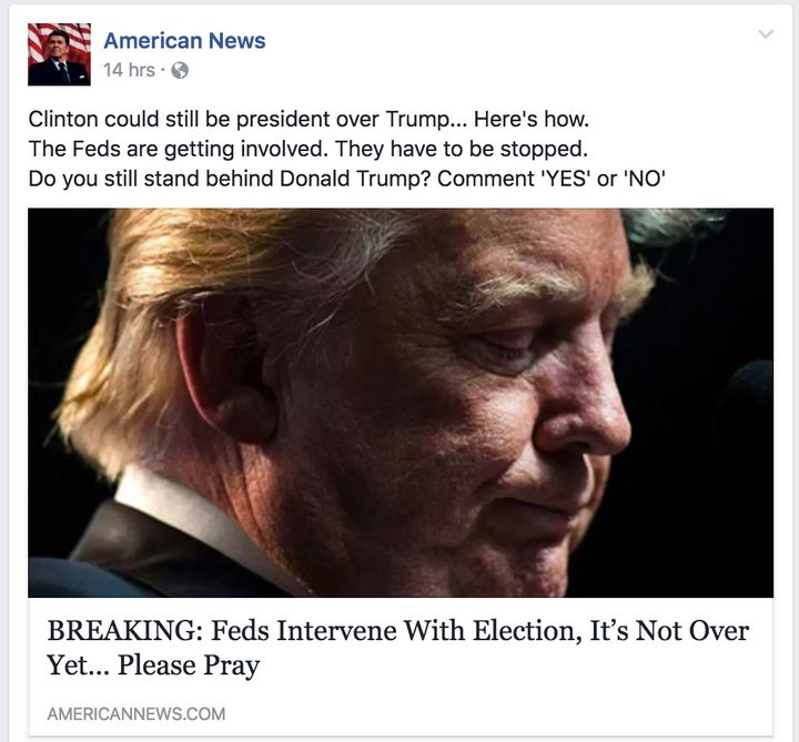 A Facebook post on the page of American News linking to a false story.