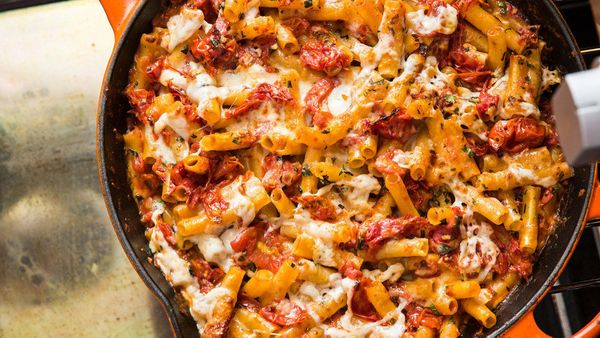 Making baked ziti can be time-consuming, since it often entails making sauce, boiling pasta and assembling and baking the dis