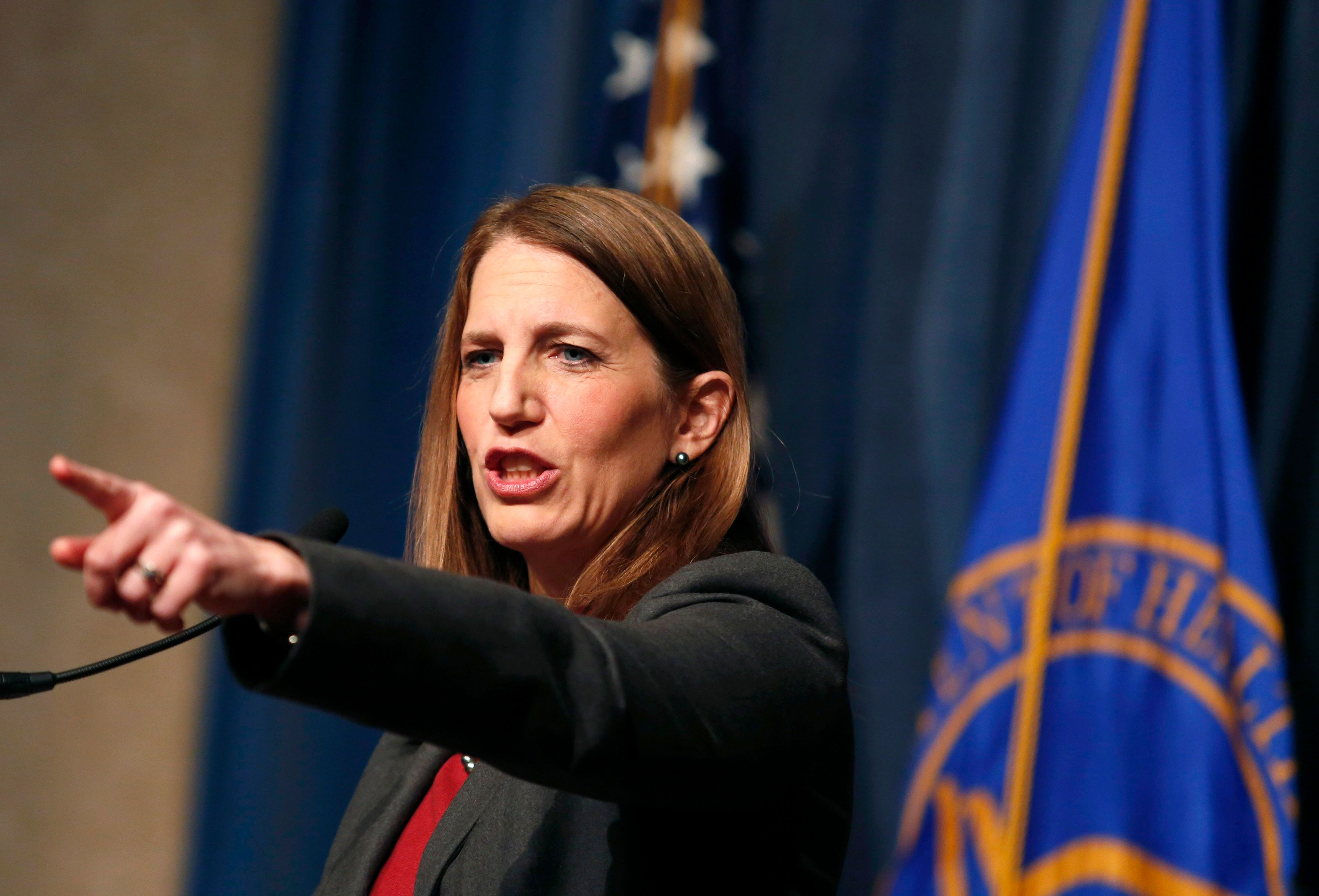 Secretary of Health and Human Services Sylvia Mathews Burwell gestures during a press conference on Open Enrollment in Washington February 18, 2015. REUTERS/Yuri Gripas (UNITED STATES - Tags: POLITICS HEALTH)