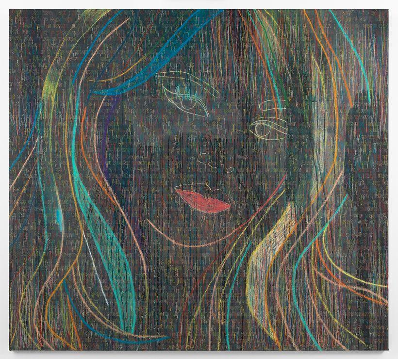 La Leçon de grammaire-RFGA, 2015, Ghada Amer. Acrylic, dried pastel, embroidery and gel medium on canvas.