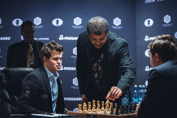 Neil deGrasse Tyson plays the ceremonial first move in game 8