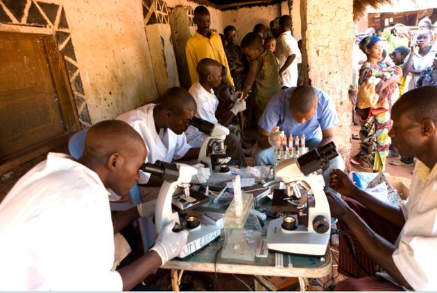 A mobile team from the Democratic Republic of Congo Sleeping Sickness Program at work in Mpata screening...