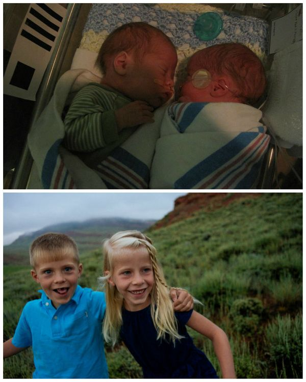 """Here are some pictures of our twins: Brooks (boy) and Adlyn (girl) when they were in the NICU. They spent 35 days in the NIC"
