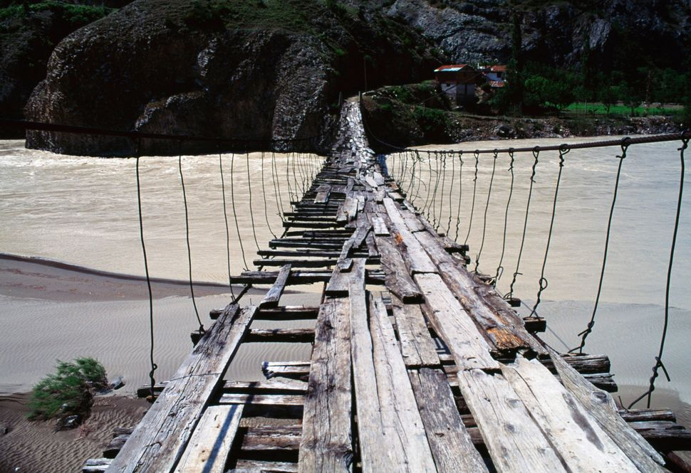 A wooden bridge over Coruh River in northeastern Turkey.