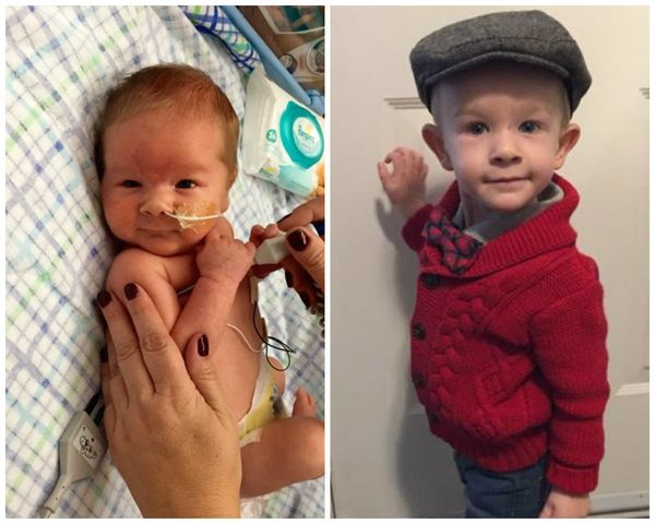 """Mason was born at 32 weeks and six days, weighing in at 5 pounds and 2 ounces. I was on bed rest for weeks at home and in ho"