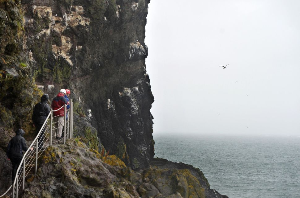 Tourists make their way along The Gobbins coastal path and trail in Antrim, Northern Ireland.