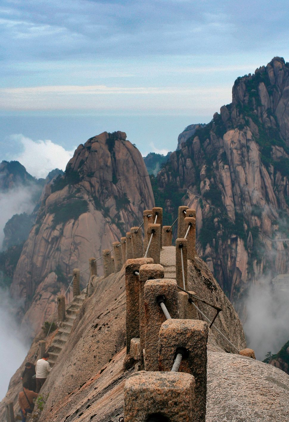 Breathtaking sky bridge on the peak of Huang Mountain, China.