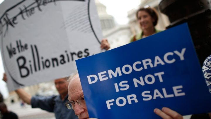 Supporters of campaign finance reform protest outside the United States Capitol.