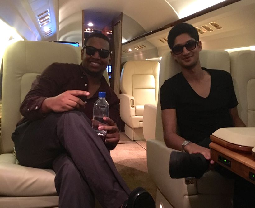 Chris Bannister (left) and Sami Belbase (right) enjoying the perks of working in private aviation.