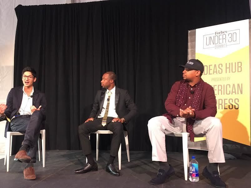 Belbase (left) and Bannister (right) speaking at the Forbes 30 Under 30 Summit in October 2016.
