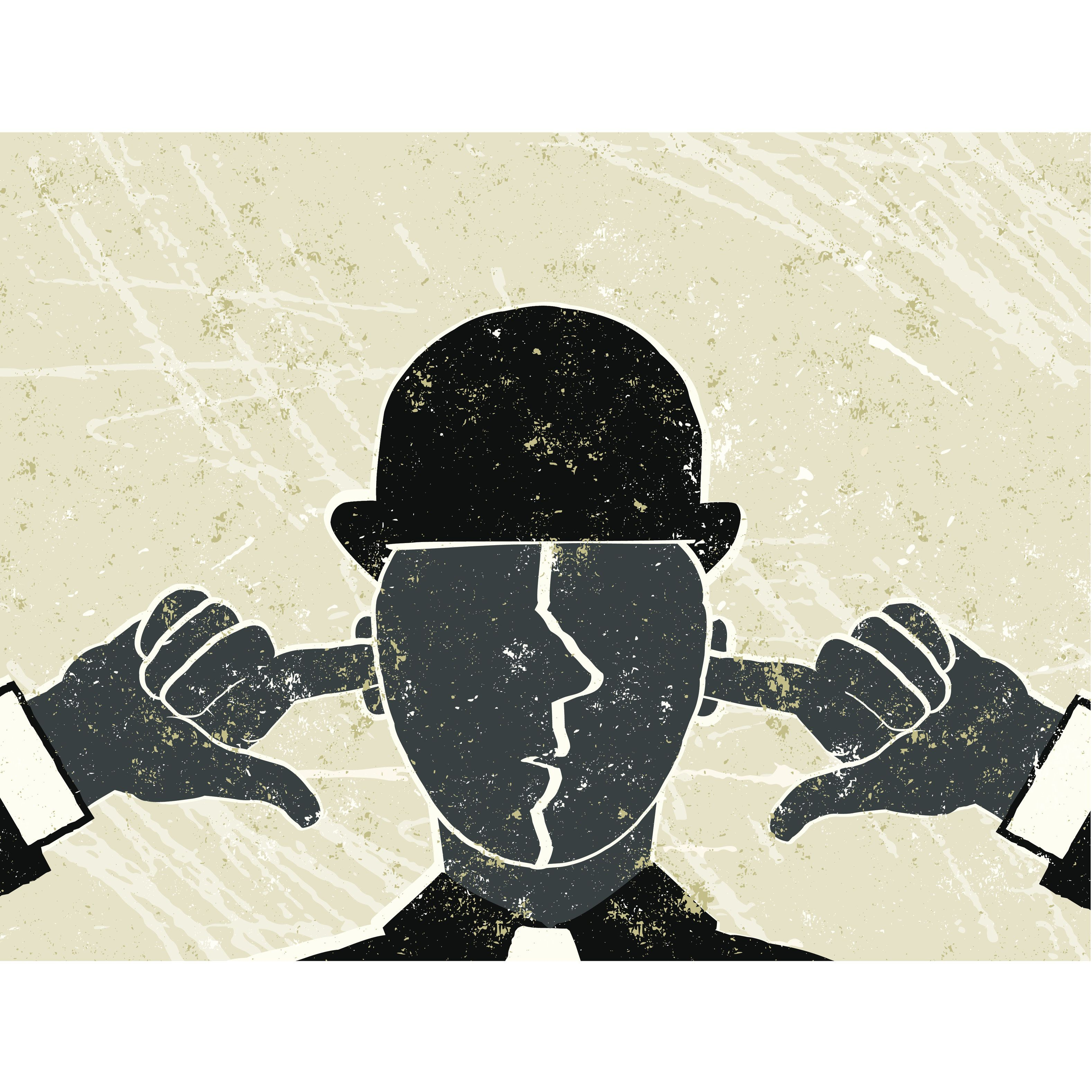 I Can't Hear You!  A stylized vector cartoon of a businessman with his fingers in his ears reminiscent of an old screen print poster and suggesting oblivious, ignore, loneliness, censorship, mute or not listening. Man, hat, hands, paper texture, and background are on different layers for easy editing. Please note: clipping paths have been used, an eps version is included without the path.
