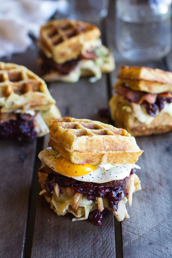 """<strong>Get the<a href=""""http://www.halfbakedharvest.com/turkey-smashed-avocado-cranberry-brie-mashed-potato-waffle-melt"""