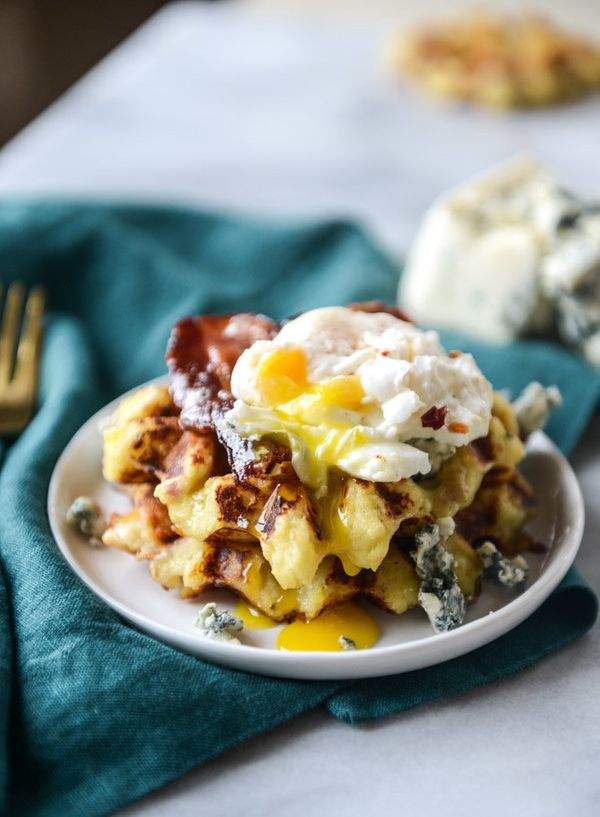 "<strong>Get the <a href=""http://www.howsweeteats.com/2015/11/bacon-blue-cheese-mashed-potato-waffles/"" target=""_blank"">Bacon"