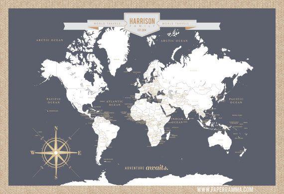 "Push Pin Travel Map, $56+ at <a href=""https://www.etsy.com/listing/386098194/push-pin-travel-map-world-travels-map?ga_order=m"