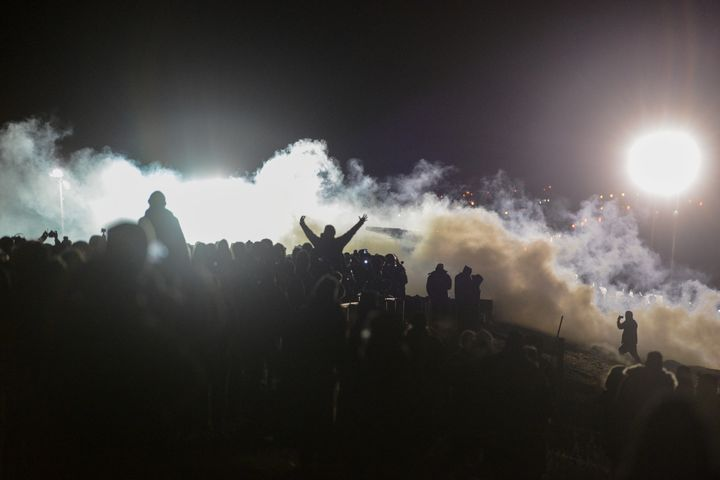 Police use tear gas against demonstrators near the Standing Rock Indian Reservation in North Dakota on Nov. 20.