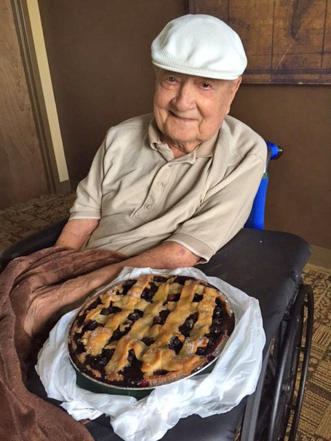 <p>With a homemade blueberry pie on father's day.</p>