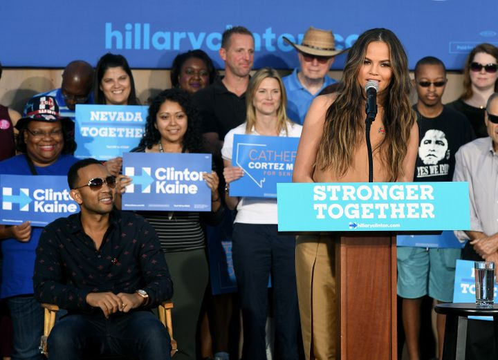 Teigen and Legend campaigning for Hillary Clinton together in October.
