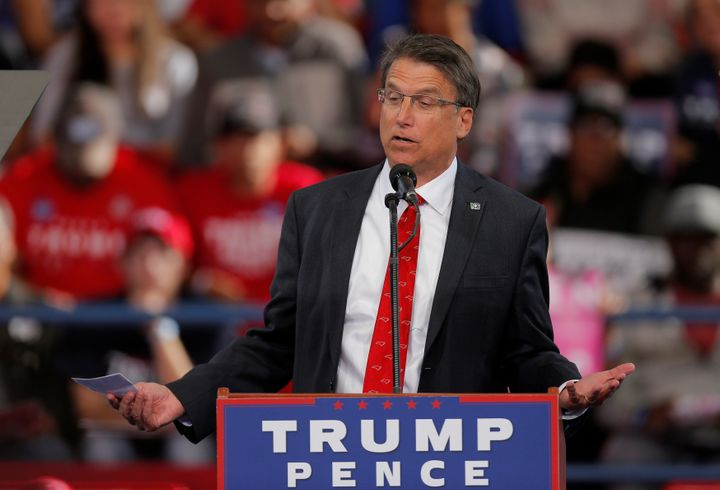 North Carolina Gov. Pat McCrory speaks ahead of President-elect Donald Trump at a campaign rally in Raleigh on Nov.