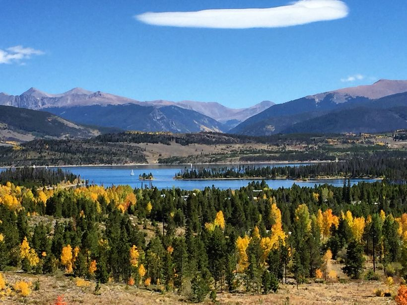 There are pretty views from the hills above Silverthorne of neighboring Lake Dillion.