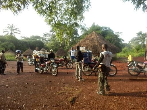 A mobile team from Doctors Without Borders arrives in a village in thenortheast region of the Democratic Republic of Congo to start active screening for sleeping sickness. All material is carried by motorbikes because it is not possible to reach remote villages by car.