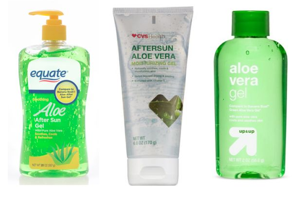 Testing on store-brand aloe vera products sold at (from left) Walmart, CVS and Target found no evidence...
