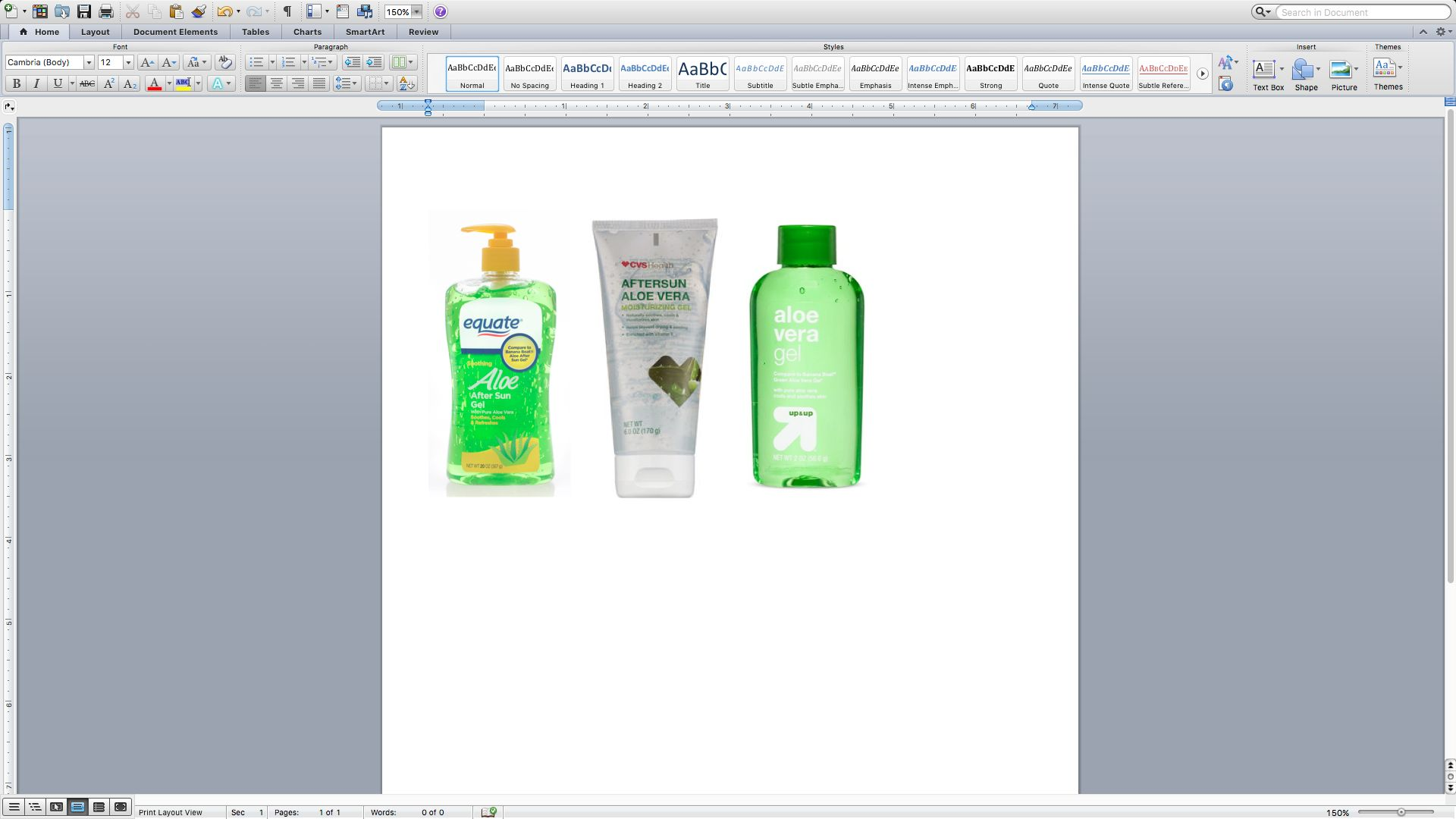 Testing on store-brand aloe vera products sold at (from left) Walmart, CVS and Target found no evidence of aloe, according to