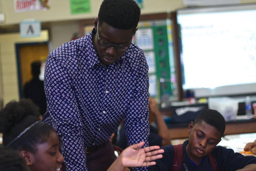 Edmund Adjapong teaching in an urban public middle school.