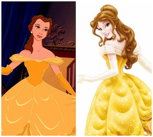 The original animated Belle, versus the 2012 rebranded princess.
