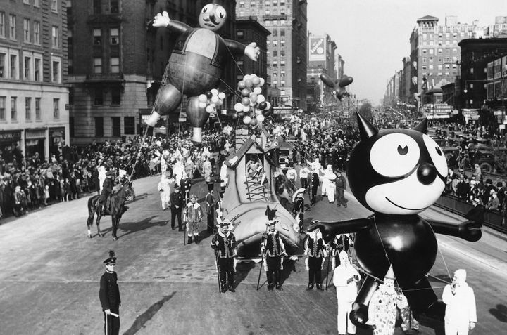 Felix the Cat in the Thanksgiving Day parade in the late 1920s or 1930s.