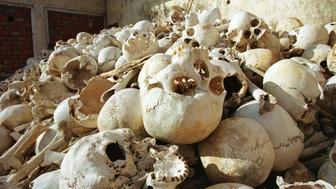 FILE PICTURE 7FEB96 - The remains of Cambodians killed by Pol Pot's Khmer Rouge regime during their 1975-79 reign of terror lie lie in an abandoned school house in Tonle Bati, 40 km south of Phnom Penh. Pol Pot, who died Wednesday aged 73, is to be cremated tomorrow.  REUTERS