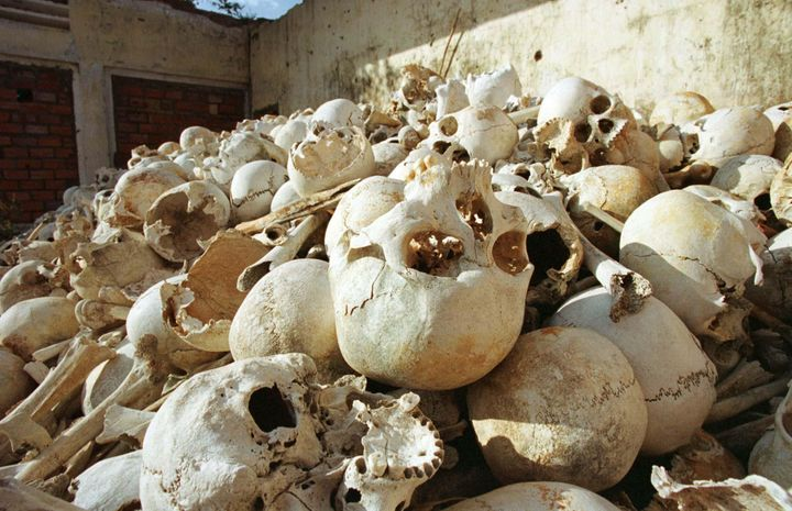 The remains of Cambodians killed by Pol Pot's Khmer Rouge regime during their 1975-79 reign of terror.