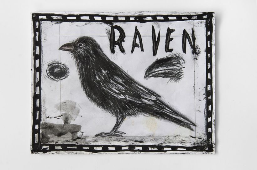 Raven Study, 2016. Mixed media on paper. 8 1/2 x 11 inches.