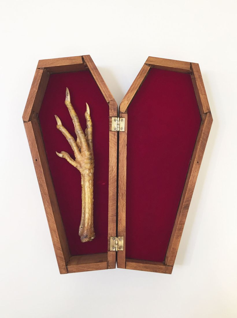 Souvenir, Foot of Blinky, 2016. Wood, bone. 9 1/2 X 4 1/4 x 2 1/4 inches.