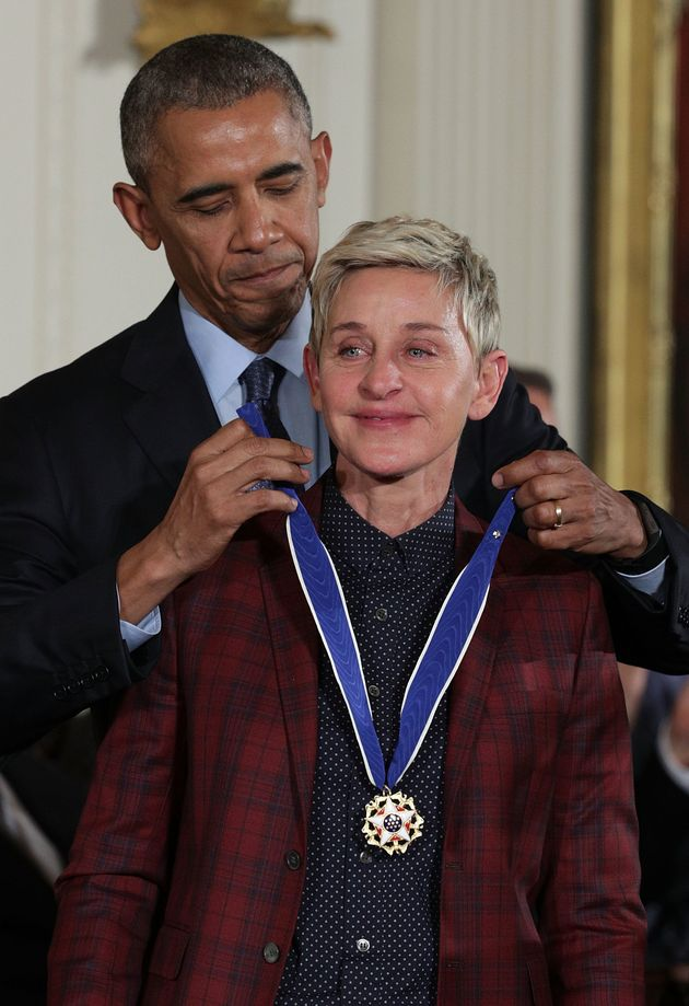U.S. President Barack Obama presents the Presidential Medal of Freedom to comedian and talk show host...