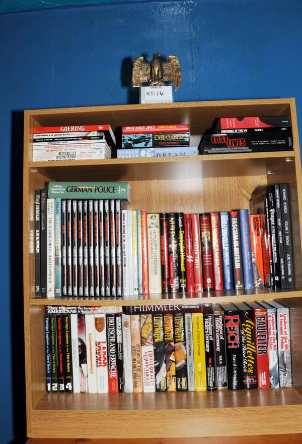 The Nazi eagle police found on top of Thomas Mair's bookcase at his home in Birstall, West