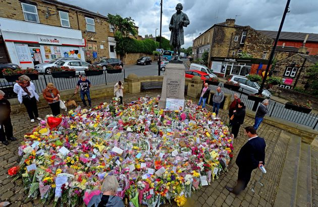 A sea of flowers placed at a memorial in Birstall after the killing of Jo