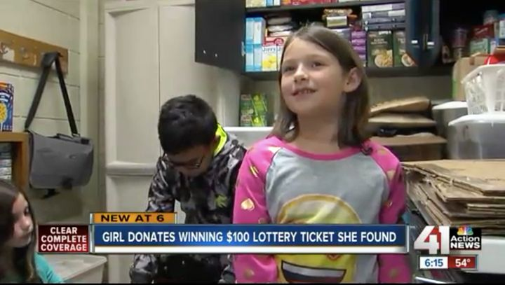 Phoebe Brown, 7, donated $100 worth of food to her school's food drive after finding a winning scratch-off ticket on the ground.