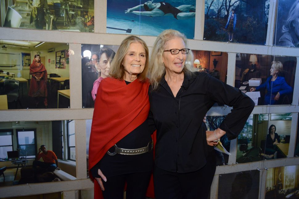 "Gloria Steinem and Annie Leibovitz at ""WOMEN: New Portraits."""