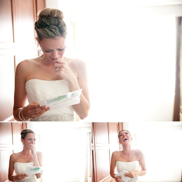 "<strong>3. Exchange letters on the morning of the wedding.</strong> Sure, ""meet you down the aisle"" texts are charming, but there's nothing quite like putting pen to paper. Thank your future spouse for marrying you and making you the luckiest woman alive. Capture each other's reaction on film by reading the letters out loud for your videographer. <br /><br /><strong>Related:</strong> <a href=""http://www.bridalguide.com/planning/the-details/photo-video/getting-ready-photos#161622"" target=""_blank"">60 Must-Have ""Getting Ready"" Photos</a>"
