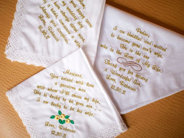 "<strong>6. Wipe away your parents' tears of joy. </strong> Personalize vintage handkerchiefs with embroidered messages for Mom, Dad, your mother-in-law, father-in-law, or any other close family members. <br /><br /><strong>Related:</strong> <a href=""http://www.bridalguide.com/planning/details/favors-gifts/thank-you-gifts-for-parents#148262"" target=""_blank"">Wedding Thank-You Gifts for Mom and Dad</a>"
