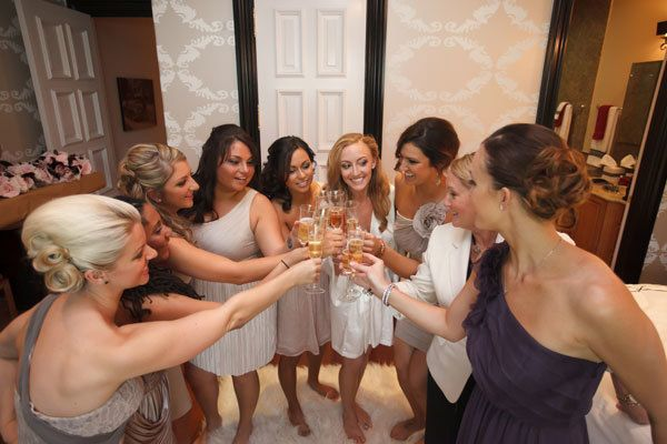 <strong>11. Toast to all of the times that your bridal party supported you.</strong> Thank your bridal party attendants for sharing in the joy of your wedding day with a quick speech. Don't forget to hand out a glass of bubbly to each bridesmaid before you hit the road!
