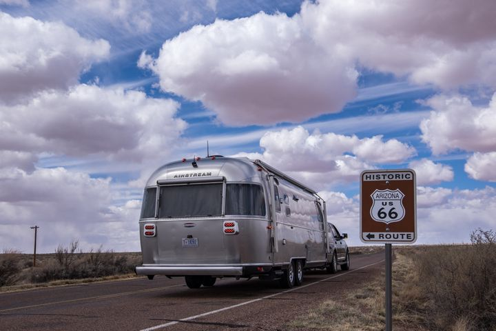 The couple journeyed along Route 66 with their trailer in tow.
