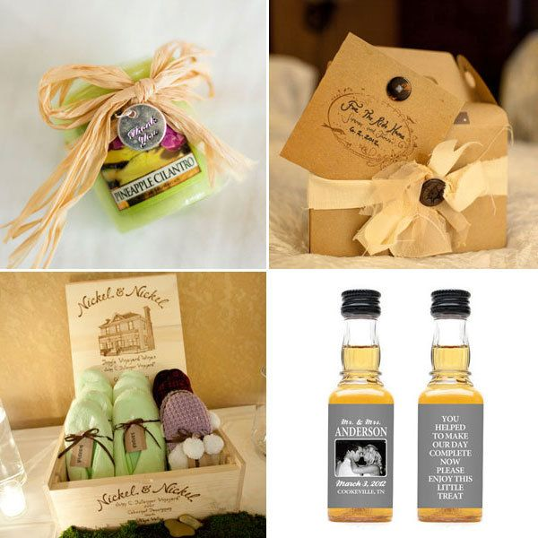 "<strong>20. Give out thoughtful favors. </strong> Gift creature comforts like cozy slippers, a yummy scent or donuts for the ride home. <br /><br /><strong>Related:</strong> <a href=""http://www.bridalguide.com/planning/the-details/favors-gifts/wedding-favor-ideas#156324"" target=""_blank"">30 Favor Ideas From Real Weddings</a>"